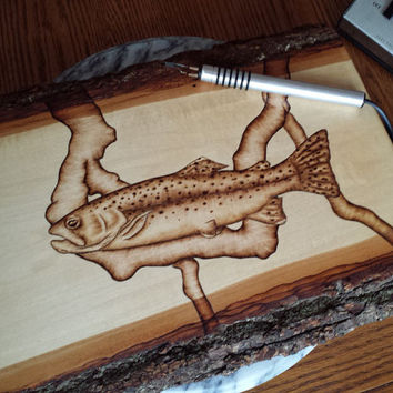 Wood Art Trout Fishing Decor Fly Fishing Artwork Rustic Trout Wall Hanging