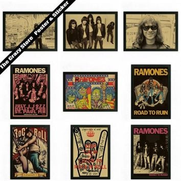 Ramones Bar Cafe retro nostalgia kraft paper decorative painting posters wall sticker