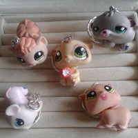 5 pc littlest pet shop Hamster  keychain keyring set - party favor lot