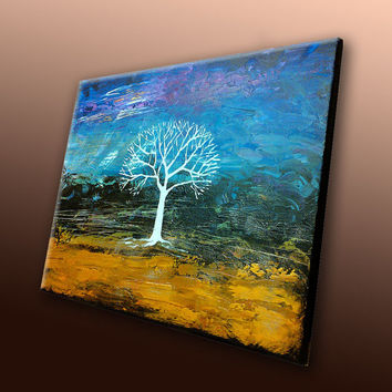 ORIGINAL Painting Abstract Art Modern Wall Art Abstract Canvas Art Acrylic Painting Tree Landscape Abstract Painting Blue Gold