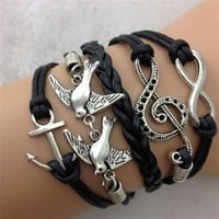 2014 Susenstore Antique Silver Infinity Double Birds Note Charms Leather Wrap Bracelet