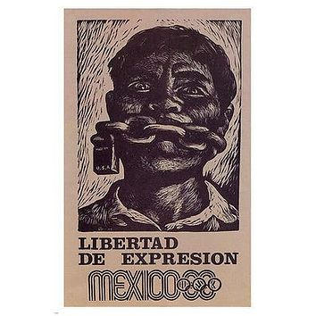 Mexico 1968- FREEDOM OF EXPRESSION poster 24X36 political CIVIL RIGHTS