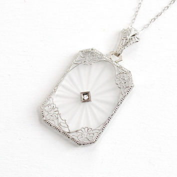 Antique Art Deco 14k White Gold Camphor Glass Diamond Pendant Necklace- Vintage 1920s 1930s Clear Frosted Glass Floral Filigree Fine Jewelry