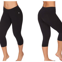151-1 Sports Yoga Capri Pants Color Black/L