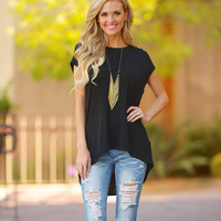 Cut Out Round Neck Sleeveless Shirt in Black