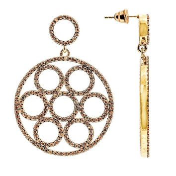 22ct Rose Gold Vermeil Micro pave Olympics Earring Champagne