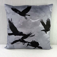 Pillow case Flock of Crows 16x16 inch 40x40cm for by Mirthquake