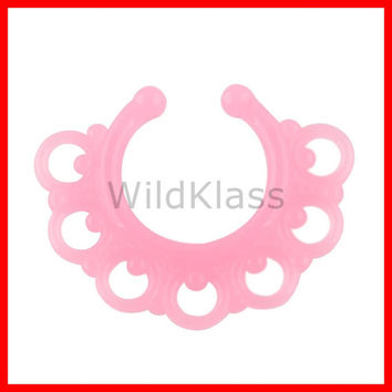 Septum Hanger Pink Tribal Fan Glow in the Dark Non Piercing Fake Piercing Nose Ring Nose Jewelry Nose Piercing