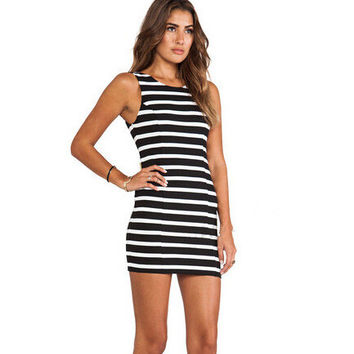 Stylish Butterfly Decoration Sexy Deep V Stripes One Piece [6339103617]