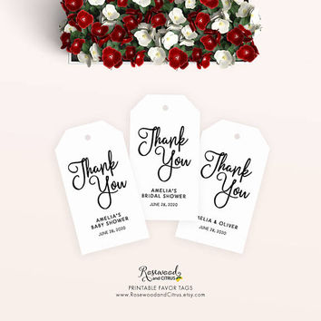 Printable Thank You Favor Tags, Printable Wedding Favor Tags, Printable Wedding Tags, Printable Bridal Shower Tags, Baby Shower Tags