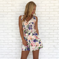 Spring Flowers Romper in Ivory