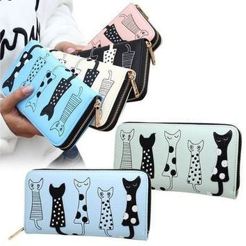 Cute Cat Kitten Friendship Leather Womens Zipper Wallets Clutch Coin Case