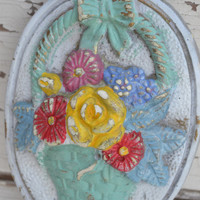 Chalk Plaque vintage upcycled flowers bright housewares modern home decor
