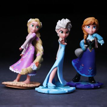 1pc Hot Toys 9cm princess Elsa Anna Rapunzel action Figure PVC doll cake decoration toys for kids Birthday Gift
