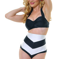 Black & White Striped Amelia Swimsuit Bottom - Unique Vintage - Prom dresses, retro dresses, retro swimsuits.