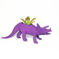 Up-cycled Dark Purple Triceratops Planter - With Succulent Plant