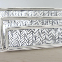 Large Herringbone Nesting Tray in Black and White