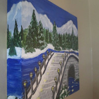 Winter Painting on Canvas, Christmas Decor, Bridge, Mountains, River, 8x8x1.5