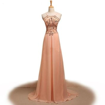 Spaghetti strap floor length long evening gowns Beaded crystal a line dress for wedding party chiffon robe
