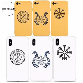 DIFFRBEAUTY Luxury Candy Color TPU Conque Viking Vegvisir Odin Nordic Soft Phone Cases For iPhone 6 6s 7 8 Plus iPhone 5s SE X