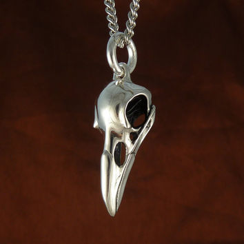 "Raven Skull Bird Skull Pendant Necklace, Antique Silver on 18"" Antique Silver Chain"
