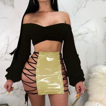 Golden Cross PU Leather Bodycon Lace-up High Waisted Clubwear Skirt