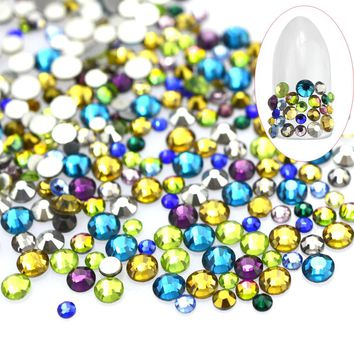 500pcs Mixed Color & Size Crystal Rhinestones Nail Art Glitter Decorations DIY Craft Beauty Flatback Gem Nail Accessory CH400