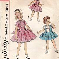 1950s Girl's Holiday Easter Party Dress Simplicity 2436 Sewing Pattern Inverted Pleat Full Circle Skirt Fitted Bodice Size 2