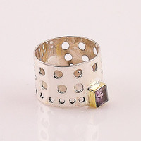 Amethyst Two Tone Sterling Silver Perforated Mod Ring