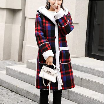 Womens Checkered Coat With Hood