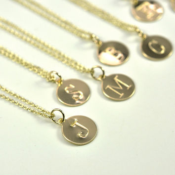 Gold Letter Necklace, Stamped Initial in 14K Yellow Gold fill disc, Personalized, Kristin Noel Designs