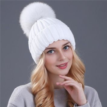 Mink and Fox Fur Ball Hat Multiple Colors