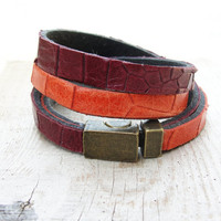 Double Leather Bracelet Orange and Burgundy Bracelet Jewelry Leather and Metal