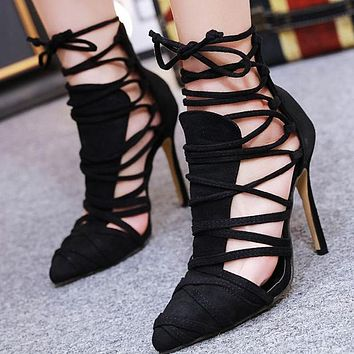 Fashion ladies'single sandals, summer pointed straps, hollow high heels