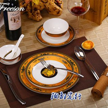 Europe Palace Medusa Bone China Tableware Set with Bowl Fork Knife Dishes Plates Advanced Cutlery Dinnerware for Home Party Gift