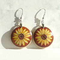 Sunflower Earrings, Dangle Earrings, Hand Painted Earring, Sunflower, Brown Background Earring,  Wood Art, Sterling Silver Ear Wire Hooks