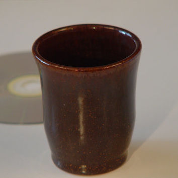 "Wheel Thrown stoneware ceramic Drinking Glass 4 oz. \ Tea Cup Handleless, pottery Mug, Brown, ""Meditations"""