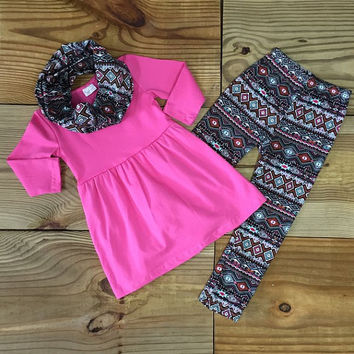 Personalize it! Tribal Hot Pink Aztec 3 Piece Boutique Outfit -Add Name/Monogram