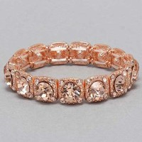 Rose Gold Stretchable Rhinestone Bracelet