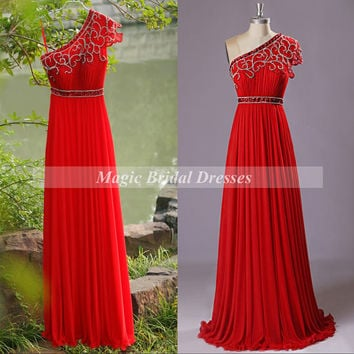 Amazing Hot Red Prom Dresses 2015 Unique Design One-shoulder Beading Floor-length Chiffon Long Prom Dress Popular Red Dresses Celebrity Gown