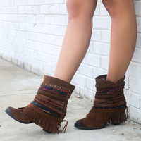 As The Sun Rises Dark Tan Braided Fringe Ankle Boot