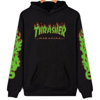 ONETOW Thrasher' flame pattern loose hooded sweater long-sleeved skateboard