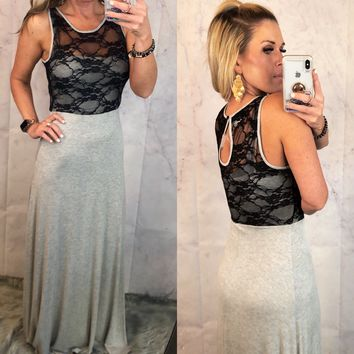 Lace Top Maxi Dress: Grey