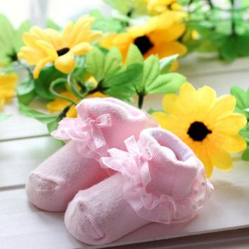 Cute Baby Socks Toddlers Girls Combed Cotton Ankle Short Lace Bowknots Socks Anti-skid Newborn Hot Calcetines de chicas 0-6M