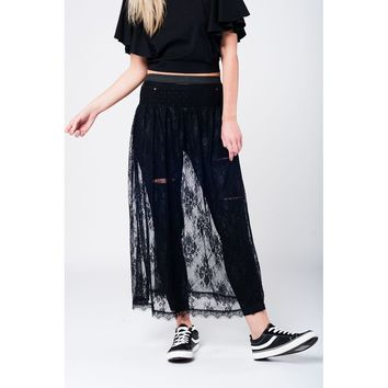 Black lace long skirt