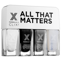 Formula X All That Matters CLIX! – Nail Polish Set (4 x 0.1 oz White Matter/Black Matter/Gray Matter/Mind Over Matter)