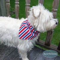 Red White Blue Stripes Patriotic Pet Collar Slipcover Dog Bandana, Med