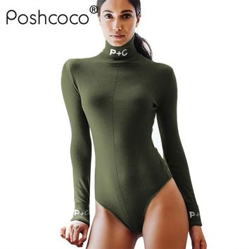 Poshcoco Brand Turtleneck Letters Print Slim Women Army Green Bodysuits 2018 Spring Solid Long Sleeve Skinny Body Suit Feminino