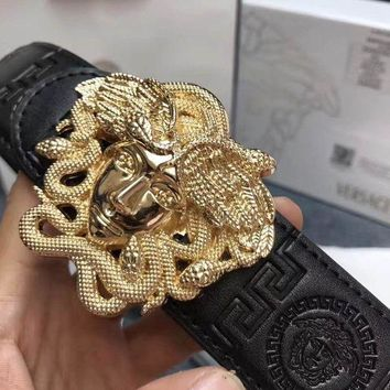 ICIK8X2 Versace mens medusa snake wings belt