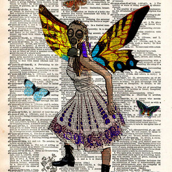 Gasmask girl, Butterfly princess in gasmask, steampunk art,  dictionary page book art print